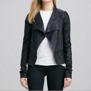 Vince Asymmetrical Zip Leather Jacket Gray & Black